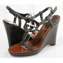 Gucci Brown Leather Interlocking G T Strap Wedge Sandals