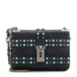Nwt Valentino Rockstud Rolling Shoulder Bag Black Leather Turquoise Sold Out
