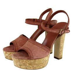 Gucci Women's Brick Red Danielle Suede Platform Sandal 309974 (38 G / 8 Us)