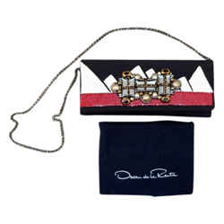 Oscar De La Renta Jewel Sequin Embellished Chain Evening Black, Red, White Clutch