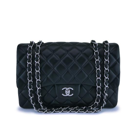 Chanel Black Lambskin Jumbo Classic Flap Bag Shw