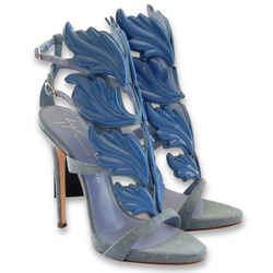NEW $1738 GIUSEPPE ZANOTTI Cruel Summer Coline Denim Wings Sandals - Blue - 37