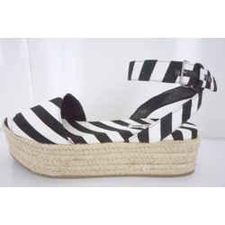 Miu Miu Black White Striped Canvas Platform Espadrille Sandals Sz 41 11 Nib $650