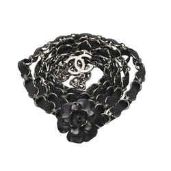 Vintage Authentic Chanel Black Brass Metal CC Camellia Chain Belt France