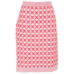 CHANEL Skirt Knit Sweater Red Pink White Straight Pencil Sz 40 19P 2019