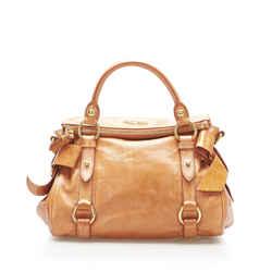 Brown Miu Miu Vitello Lux Bow Satchel Bag