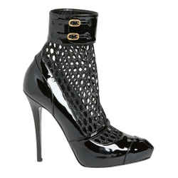 Alexander Mcqueen Black Honeycomb Mesh Patent Leather Boots/booties