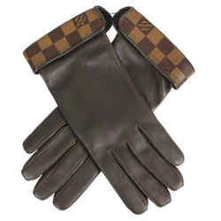 Louis Vuitton Brown 100% Lambskin Leather Men Damier Ebene Gloves