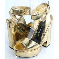 Tom Ford Metallic Ankle-Wrap Platform Sandal