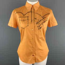 Moschino Jeans Size 12 Orange Cotton Western Sketch Print Shourt Sleeve Blouse