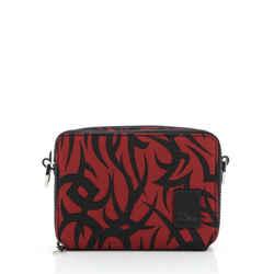 Double Zip Crossbody Bag Tribal Print Nylon