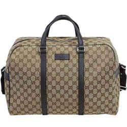 New Gucci Beige/Brown GG Guccissima Canvas Monogram Boston Travel Duffle Bag