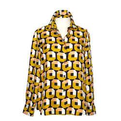 Prada Silk Blouse With Beautiful Geometric Pattern 42 / 6
