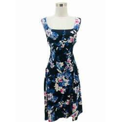 N1299 Lauren Ralph Lauren Designer Dress Size 18 Xxl Blue Floral Fit & Flare