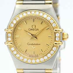 Polished OMEGA Constellation Diamond 18K Gold Steel Watch 1367.10 BF516601
