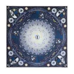 "NEW $420 ALEXANDER MCQUEEN Blue Chiffon SOLSTICE STAR MAP SKULL Silk 55"" SCARF"