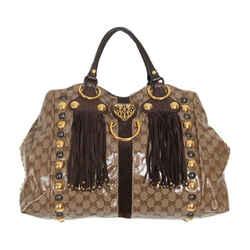 Gucci Gg Crystal Babouska Large Fringe Tote