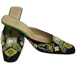 Fendi Black Yellow and Green Embroidered Mules/Slides Size: EU 38.5 (Approx. US 8.5) Regular (M, B) Item #: 24808391