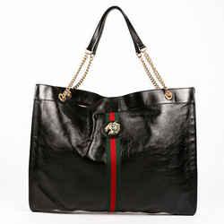 Gucci Bag Rajah Black Leather Web Stripe Tote