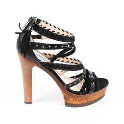 Jimmy Choo Sandals Vintage Black Suede Strappy Heeled
