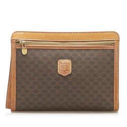 Vintage Authentic Celine Brown PVC Plastic Macadam Clutch Bag France