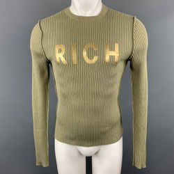 John Richmond Size S Olive Ribbed Knit Gold Graphic Wool Blend Crew-neck Pullover Sweater