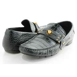 Versace Men's Black Croc Leather Loafers