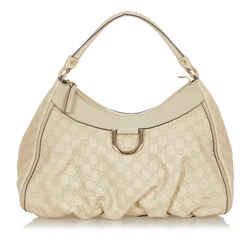 White Gucci Guccissima Abbey D-Ring Shoulder Bag