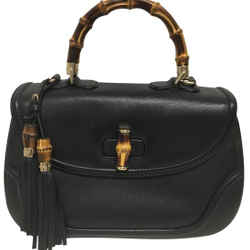 "Gucci Bag New Bamboo Large Top Handle Black Leather Satchel 10""L x 14""W x 5""H Item #: 25669806"
