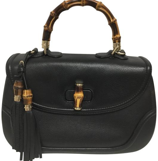 """Gucci Bag New Bamboo Large Top Handle Black Leather Satchel 10""""L x 14""""W x 5""""H Item #: 25669806"""