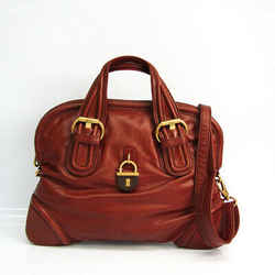 Marc Jacobs Women's Leather Handbag,Shoulder Bag Red Brown BF520592