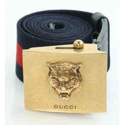 Gucci Feline Buckle Web Belt