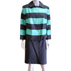 Akris Punto New Striped 2 Piece Jacket Blazer Straight Skirt 14