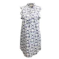 Stella McCartney Blue / White Printed Sleeveless Ruffle Dress