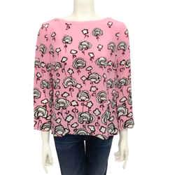 Prada Pink / Black / Width Floral Silk Blouse