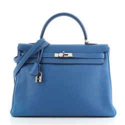 Kelly Handbag Mykonos Togo with Palladium Hardware 35