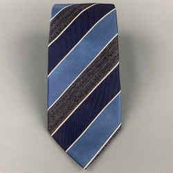 ERMENEGILDO ZEGNA Navy & Blue Diagonal Stripe Silk Tie