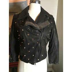 Drome Size M Black Leather Silver Studs Jacket 2400-96-1820