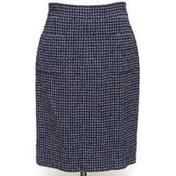 CHANEL Tweed Skirt Navy White Black Knee Length Pencil Pockets Gunmetal Sz 38