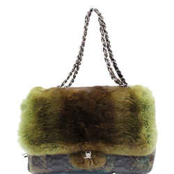 Chanel Jumbo Classic Fur And Python Leather Flap Shoulder Bag Green