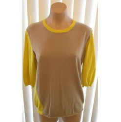 Piazza Sempione Yellow & Putty Color Block Cotton Top With 3/4 Sleeves - Size 48