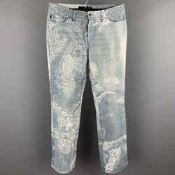 ROBERTO CAVALLI Size 33 Light Blue Paisley Denim Button Fly Jeans