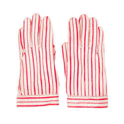 HERMES for Wear Right, Red and White Striped Gloves Size 6