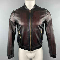 Versace Collection Size 34 Black Perforated Leather Medusa Zip Up Jacket