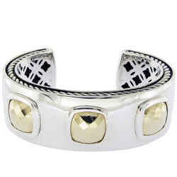 David Yurman Sterling Silver 18k Gold Albion Cushions Cuff Bracelet