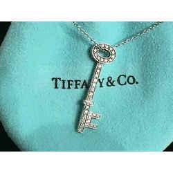 Tiffany & Co. Platinum & Diamond Skull Key Necklace 18 Inch Chain
