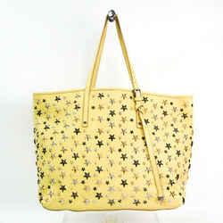 Jimmy Choo Sasha M Metallic Mix Women's Leather Studded Tote Bag Yellow Bf512545