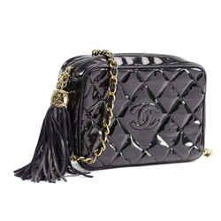 Chanel Black Quilted Patent Fringe Tassel Camera Chain Bag 860749