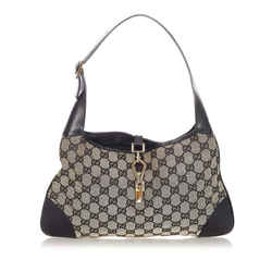 Vintage Authentic Gucci Gray Canvas Fabric GG Jackie Shoulder Bag Italy
