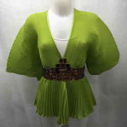 Roberto Cavalli Green Pleated Blouse Medium